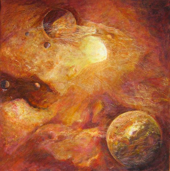Feuer, Orbit, Planet, Stadt, Universum, Sommer