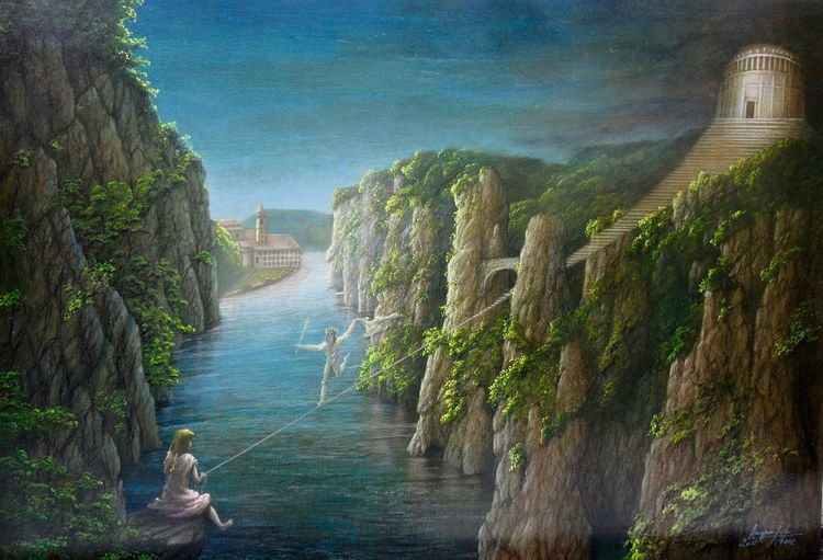 Landschaft, Donaudurchbruch, Hallertau, Befreiungshalle, Donau, Malerei