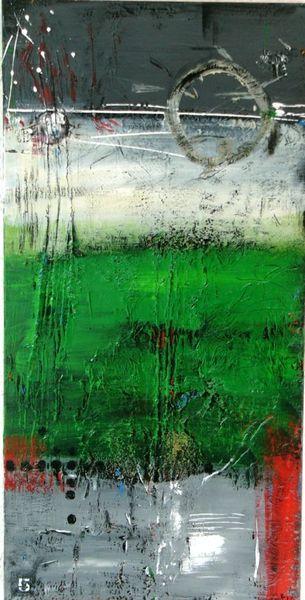 Stillleben, Grün golf, Hochformat, Abstrakt, Wiese, Acrylmalerei