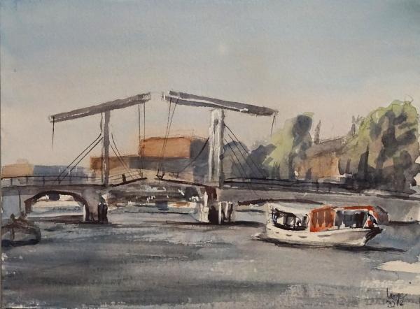 Amsterdam, Fluss, Schiff, Magere brug, Magere brücke, Aquarell
