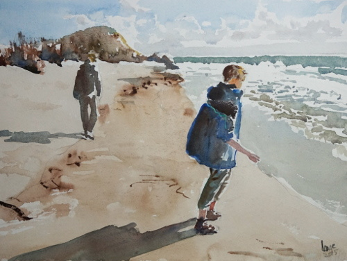 Meer, Strand, Spaziergang, Insel, Spiekeroog, Aquarell