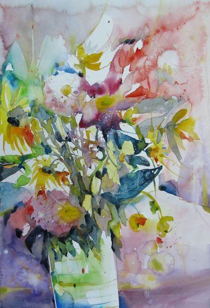Herbstblumen, Aquarellmalerei, Stillleben, Aquarell, Vase