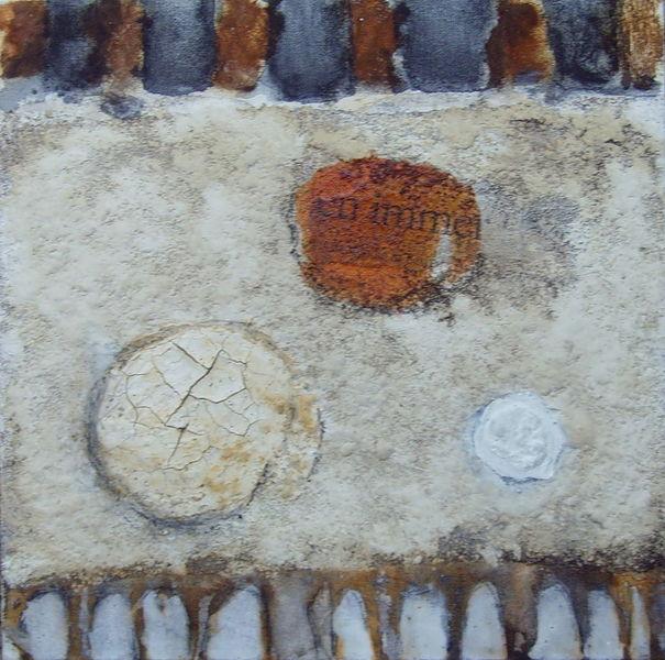 Kohlezeichnung, Aquarellmalerei, Beize, Schellack, Marmormehl, Kaffee