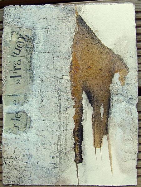 Schellack, Beize, Pigmente, Gipshaftpuzt, Malerei, Abstrakt