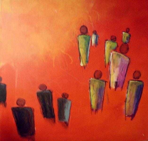 Acryl auf leinwand, Menschwerdung, Menschen, Acrylmalerei, Bunt, Rot