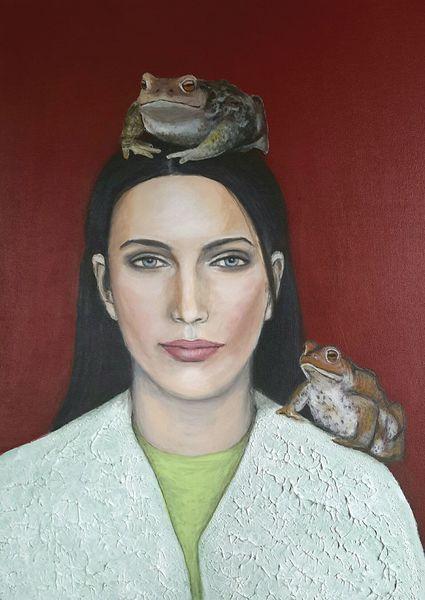 Kröte, Rot, Grün, Frau, Portrait, Malerei
