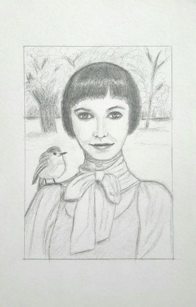 Bleistiftzeichnung, Frau, Wald, Vogel, Gast, Zeichnungen