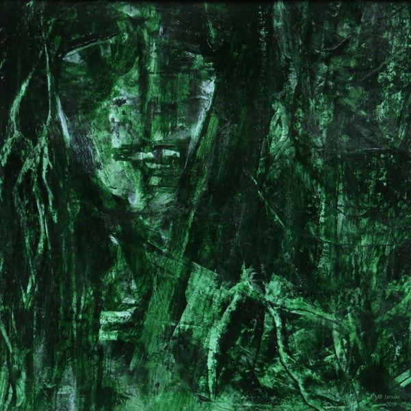Grün, Urwald, Dunkel, Gesicht, Gestalt, Undurchdringlich