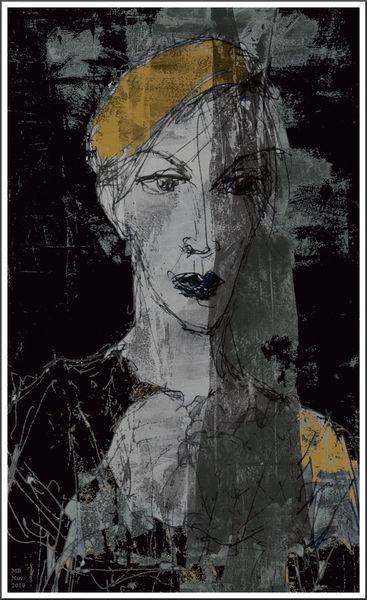 Portrait, Schleier, Gelb, Schwarzweiß, Gesicht, Mischtechnik