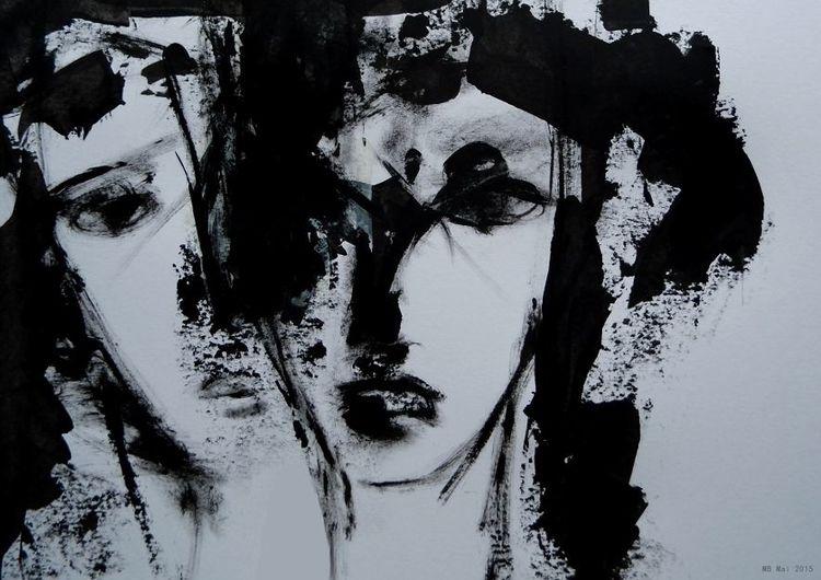 Schwestern, Gesicht, Schwarzweiß, Malerei