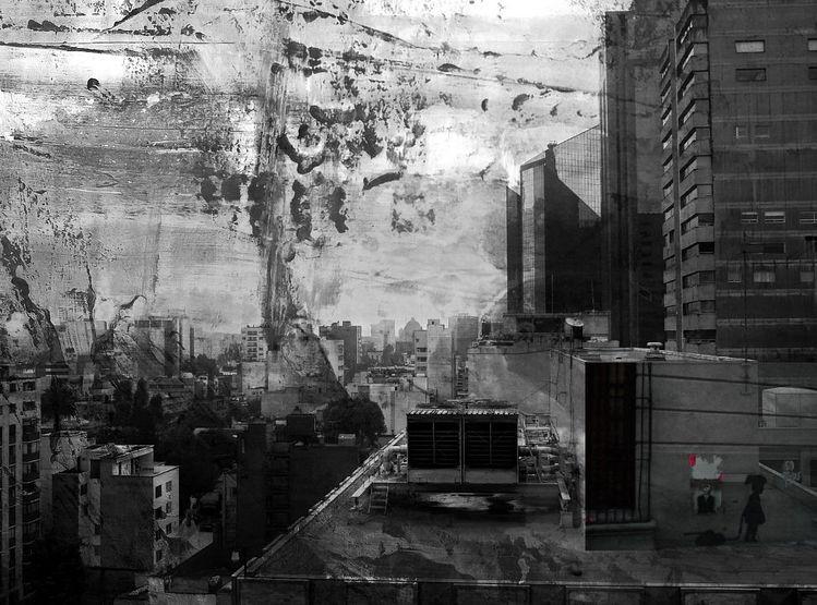 Mexico city, Großstadt, Fotomontage, Mexiko, Digitale kunst