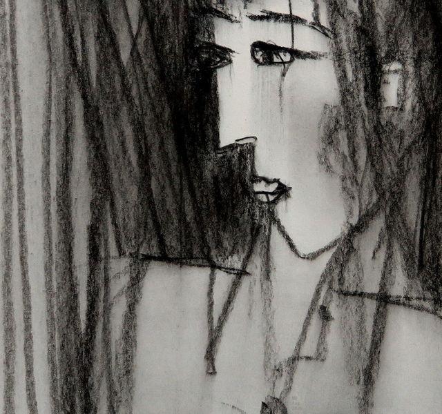Schwarzweiß, Gesicht, Kohlezeichnung, Ausdruck, Gedanken, Portrait