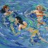 Bewegung, Sommer, Wasser, Badende mädchen