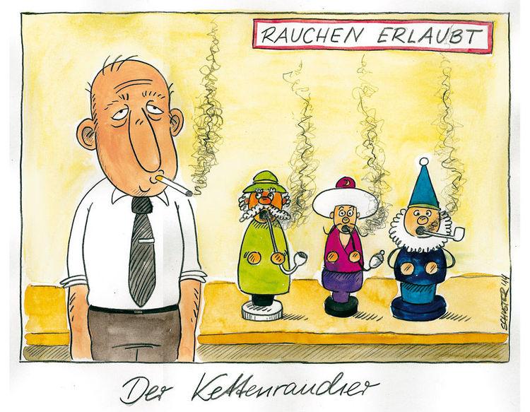 Kettenraucher, Karikatur, Weihnachten, Cartoon, Räuchermann, Zeichnungen