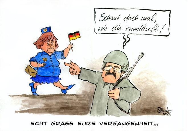 Karikatur, Ddr, Günter grass, Deutschland, Cartoon, Angela merkel