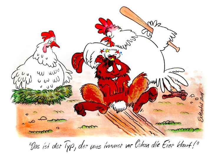 Ostern, Karikatur, Hase, Cartoon, Hahn, Huhn