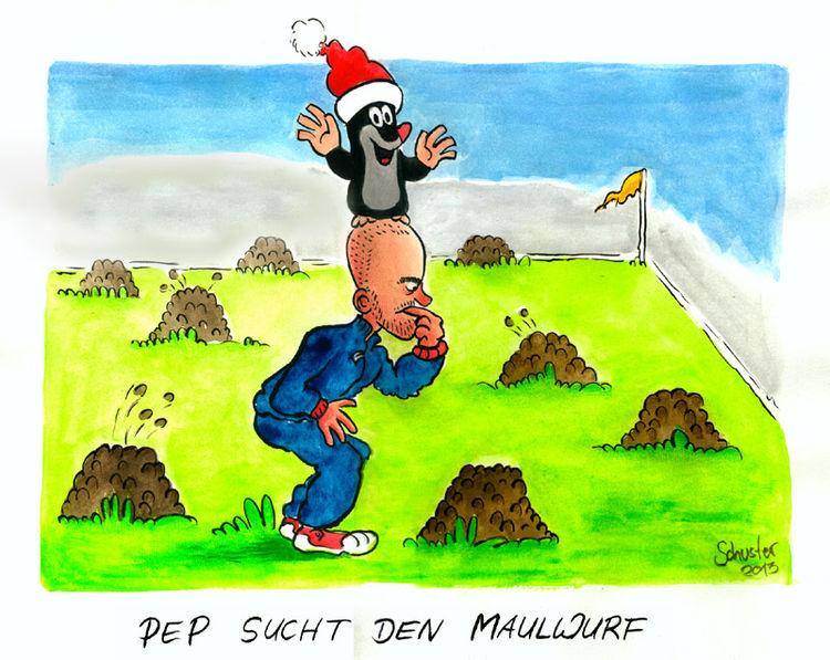 Bayern münchen, Karikatur, Cartoon, Guardiola, Zeichnungen, Maulwurf