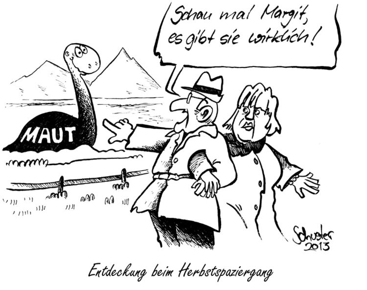 Karikatur, Politik, Cartoon, Seehofer, Maut, Auto