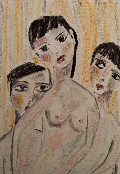 Kohlezeichnung, Mann, Frau, Zeichnungen