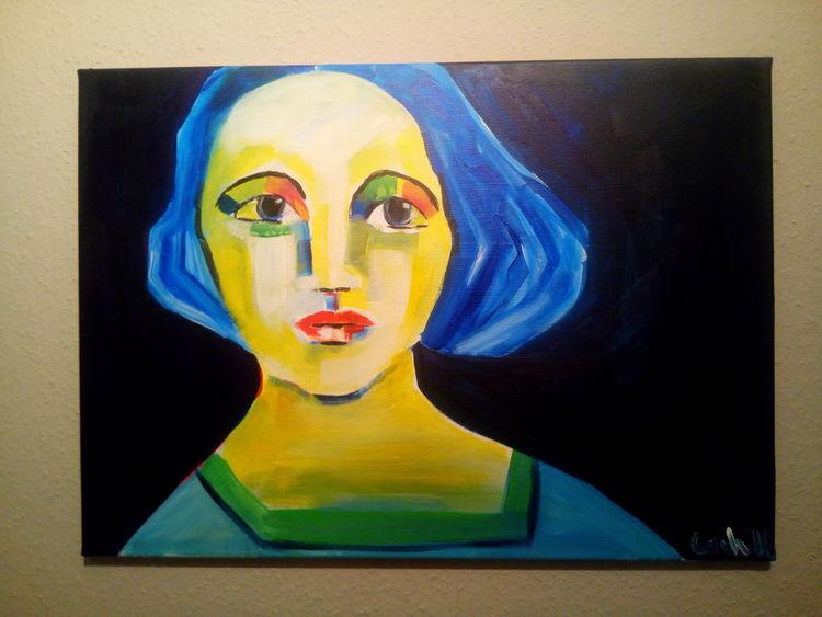 Nacht, Grün, Blau, Malerei, Studie