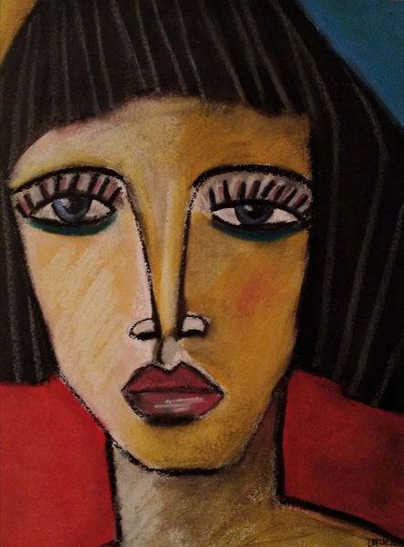 Pastellmalerei, Rot, Schwarz, Malerei, Warten