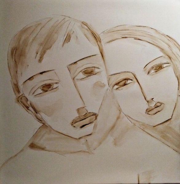 Paar, Vorzwichnung, Aquarellmalerei, Zeichnungen