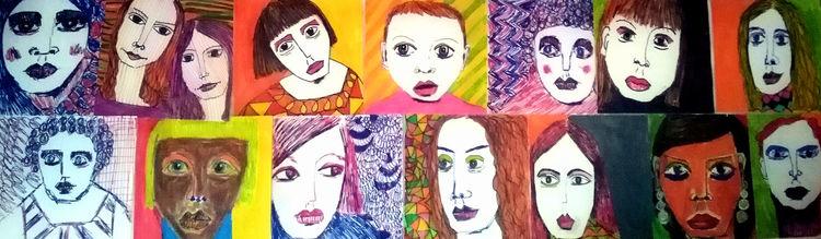 Gesicht, Rot, Gelb, Zeichnungen