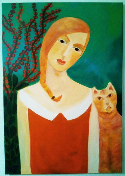 Katze, Wald, Frau, Malerei, Nähe
