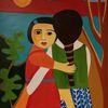 Kinder, Wiedersehen, Rote berge, Malerei