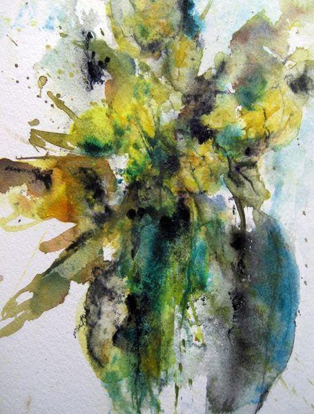 Aquarellmalerei, Blumen, Schicht, Nass, Aquarell, Vase