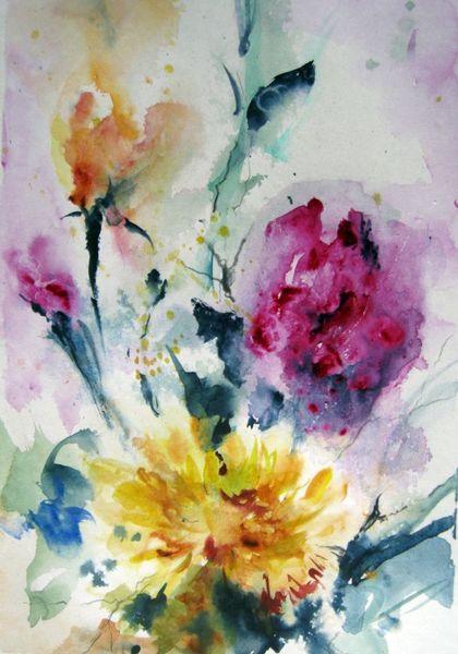 Aquarellmalerei, Pflanzen, Blumen, Nass, Aquarell