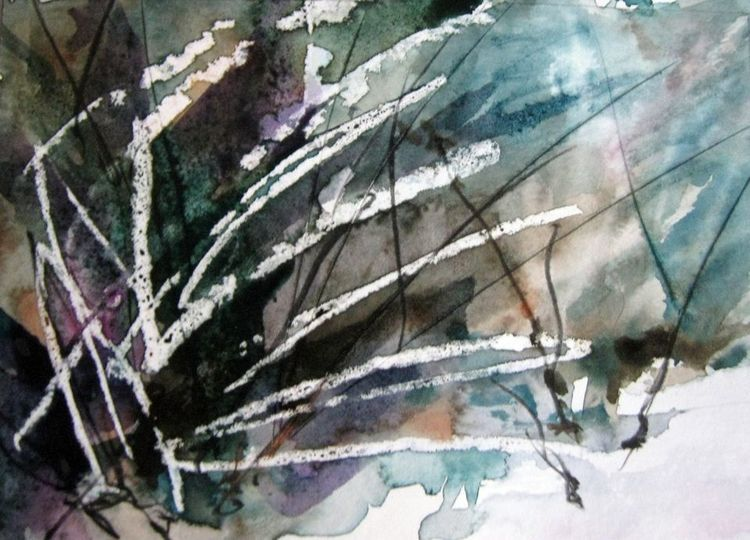 Landschaft, Nass, Aquarellmalerei, Aquarell