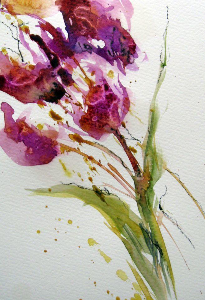 Bild pflanzen aquarellmalerei blumen aquarell von for Pflanzen blumen