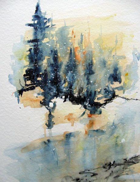 Landschaft, Aquarellmalerei, Nass, Aquarell, Wintermorgen