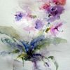Aquarellmalerei, Schicht, Blumen, Nass