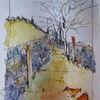 Aquarellmalerei, Nass, Skizze, Landschaft