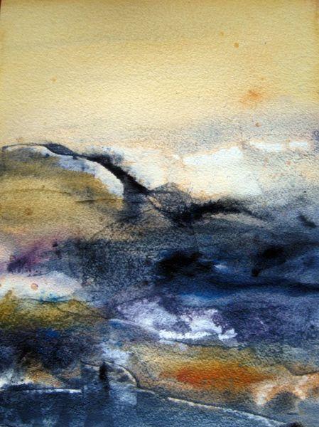 Nass, Aquarellmalerei, Landschaft, Abstrakt, Aquarell, Wüste