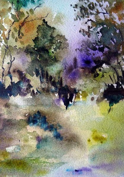 Landschaft, Nass, Pflanzen, Aquarellmalerei, Aquarell