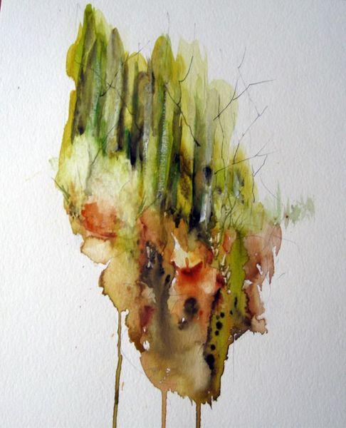 Landschaft, Nass, Baum, Aquarellmalerei, Aquarell