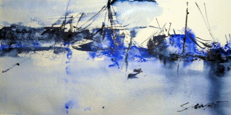 Aquarellmalerei, Nass, Landschaft, Aquarell, Winter, Hafen