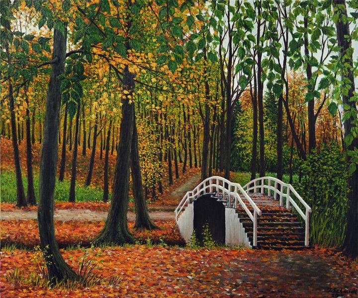 Ölmalerei, Brücke, Gras, Herbst, Feld, Landschaft