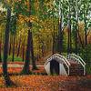 Brücke im Park - wald, landschaft, sommer, ölbilder, herbst, natur, zeichnen, brücke, feld, ölfarben, mischtechnik, gras