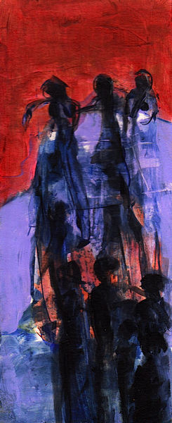 Surreal, Blau, Rot, Wahn, Nacht, Malerei