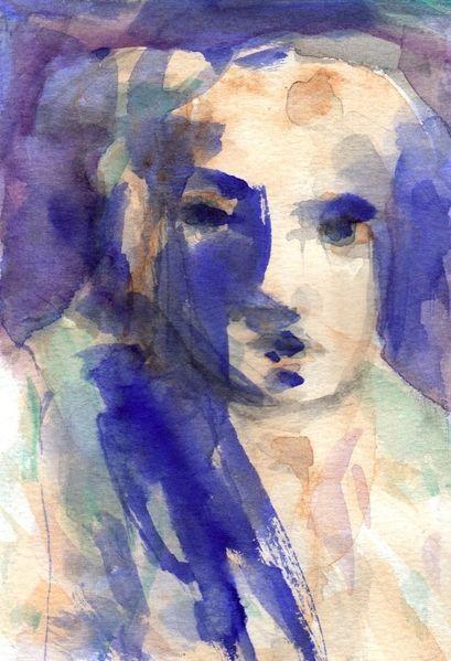 Abstrakt, Figural, Blau, Surreal, Aquarell
