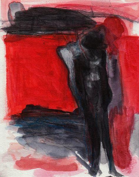 Malerei, Nacht, Rot