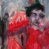 Rot, Weihnachten, Surreal, Malerei