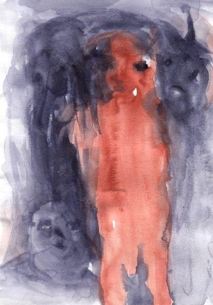 Braun, Figural, Rot, Surreal, Abstrakt, Aquarell