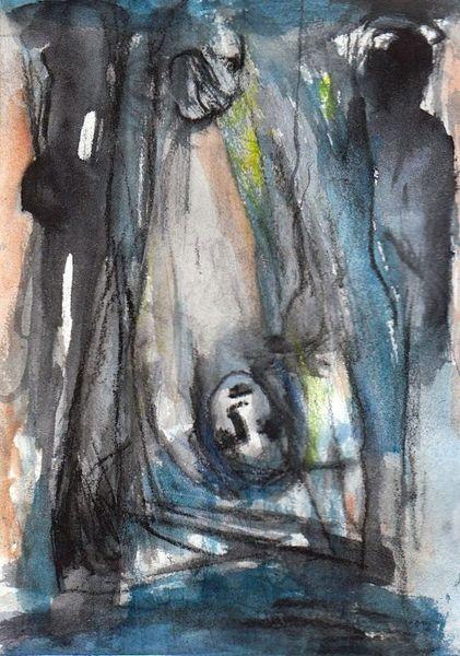 Nacht, Surreal, Abstrakt, Figural, Malerei