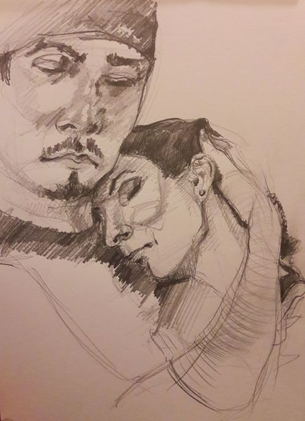 Mann, Frau, Vertrauen, Zeichnungen