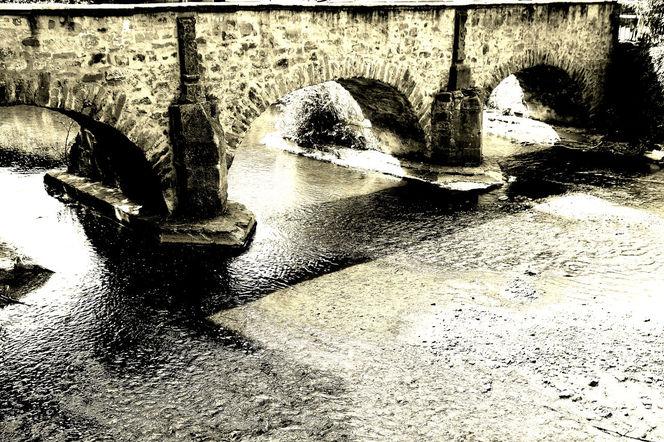 Schwarz weiß, Fluss, Wasser, Brücke, Fotografie